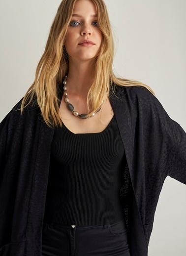 Ng Style Kendinden Desenli Jakarlı Kimono Siyah